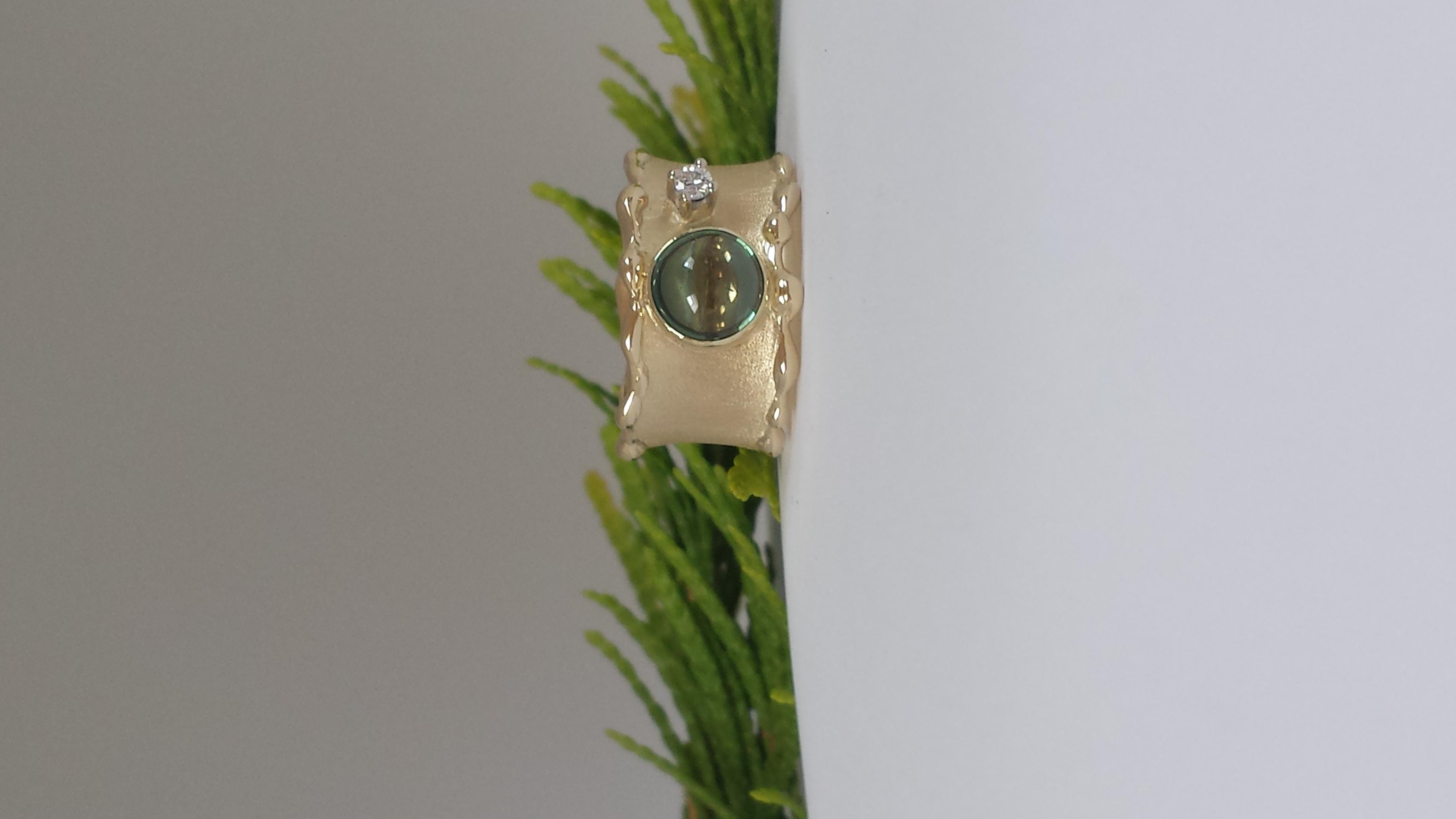 Gouden ring met toermalijn en briljant