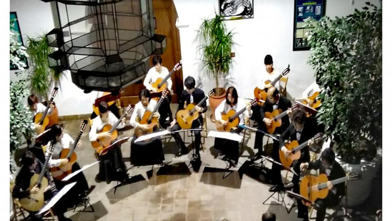 Ensemble de guitarras en el Patio de Columnas
