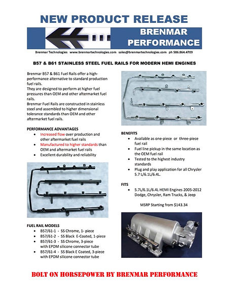 BRENMAR FUEL RAILS NEW PRODUCT RELEASE r