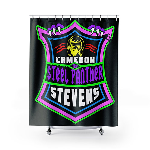 Cameron Stevens 'The Steel Panther' Shield Black Shower Curtains