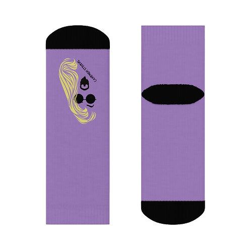 Cameron Stevens Blonde/Glasses Purple Crew Socks