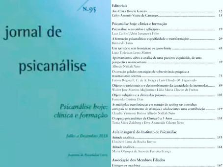 Publicação no Jornal de Psicanálise da Sociedade Brasileira de Psicanálise