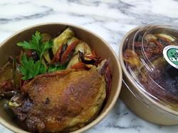 Canard confit et tian de légumes
