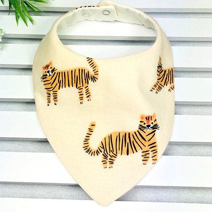 Handmade animal and tiger print baby bandana bib front view
