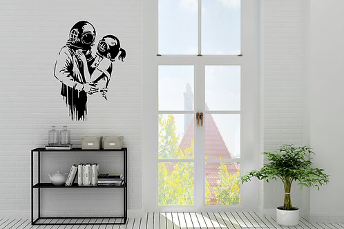 Banksy Style Diver Hug Husband And Wife Decal
