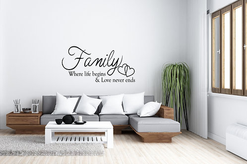 Family Where Life Begins And Love Never Ends Decal