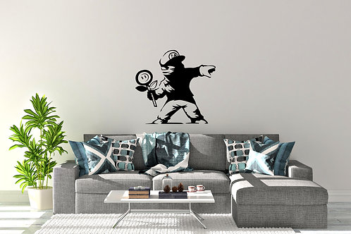 Banksy Style Mario With Flower Decal