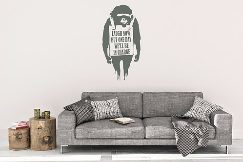 Banksy Laughing Now Ape Inspired Design wall Decal Vinyl Sticker