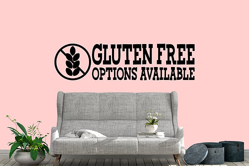 Gluten Free Options Available Shop Decal