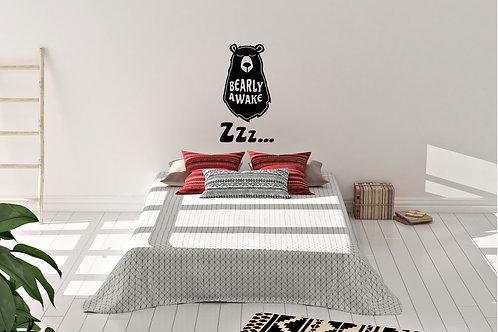 Bearly Awake Bear Sleep Decal
