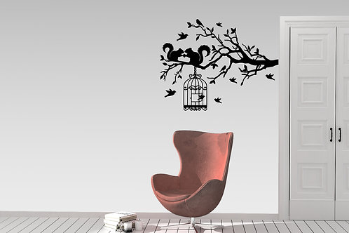 Squirrels On A Branch With Birds Flying Decal