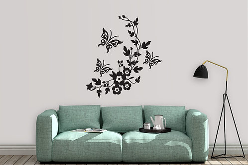 Flowers And Butterfly's Decal