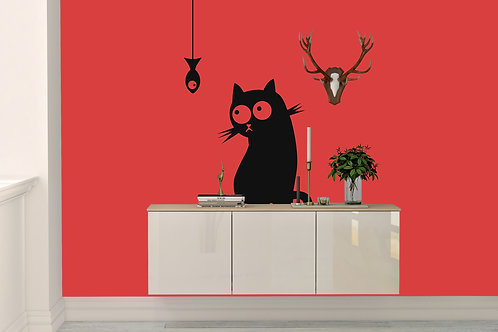 Cat Watching Fish Decal