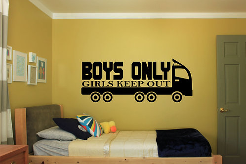 Boys Only Girls Keep Out Decal