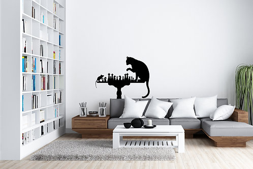 Cat And Mouse Playing Chess Home Bedroom Wall Art Decal Vinyl Sticker