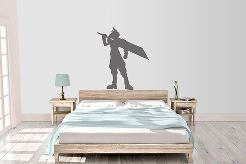 Cloud Final Fantasy 7 With Buster Sword Bedroom Wall Art Decal Vinyl Sticker