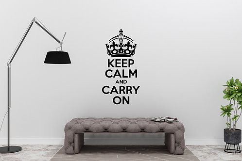 Keep Calm And Carry On With Crown Decal