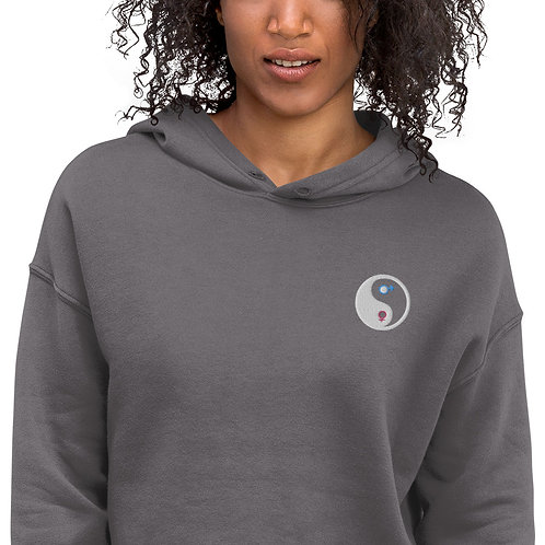 Embroidered Male and Female Yin Yang Symbol Crop Hoodie