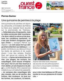 Une quinzaine d'artistes à Trestraou, à l'occasion du salon des peintres de Perros-Guirec