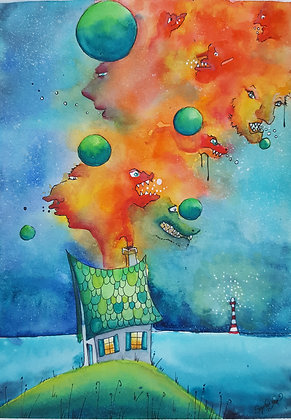 "Aquarelle ""Maison Macromonde"""
