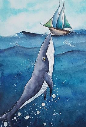 "Carte postale ""Baleine Joueuse"""