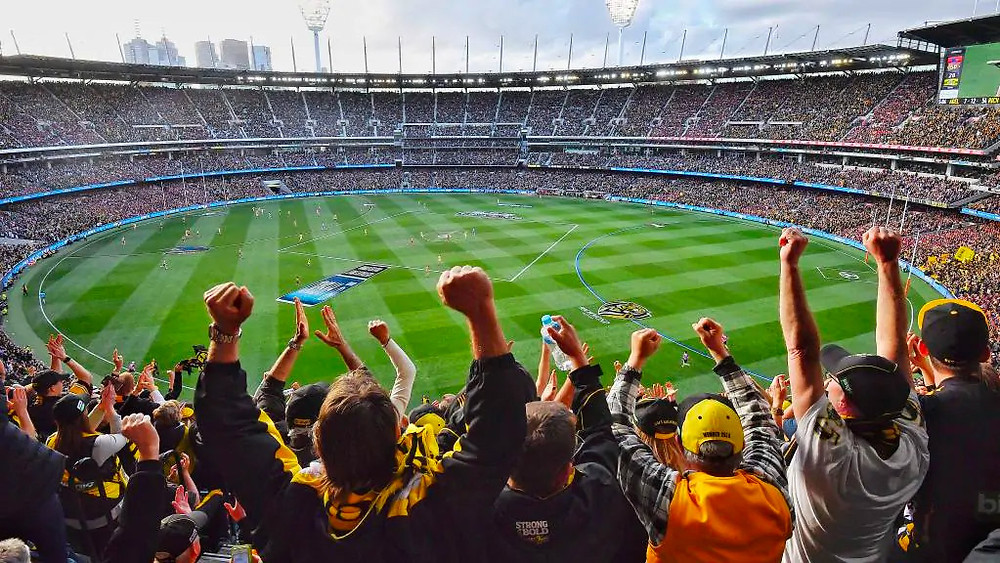 Fans celebrate at the 2017 AFL Grand Final