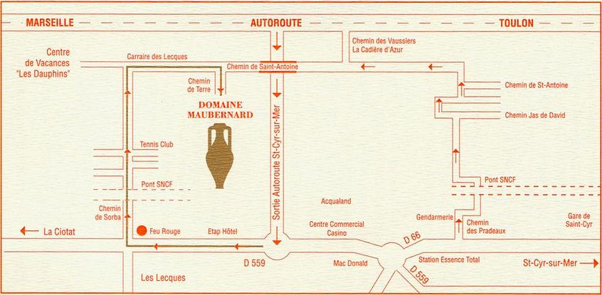 Plan, itineraire pour aller au Domaine Maubernard AOC BANDOL