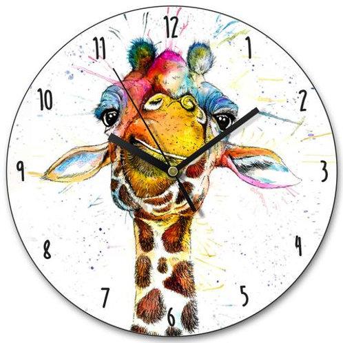 Clocks - SPLATTER RAINBOW GIRAFFE KW37L