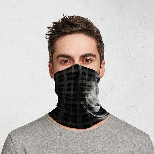 Black & Grey Tartan Neck Scarf Face Covering