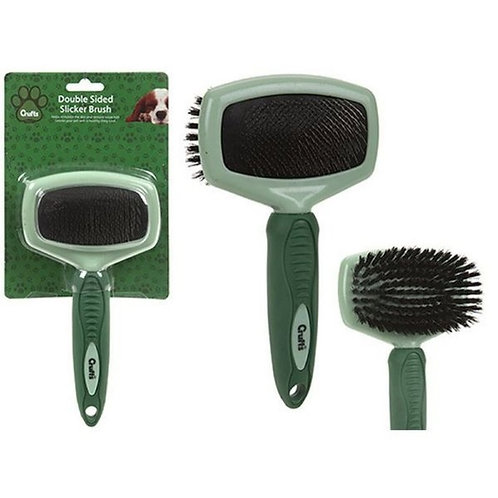 Crufts Soft Grip Double Bristle/slicker Brush On Blister Card
