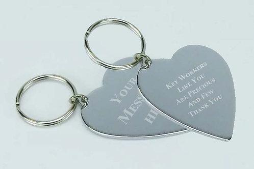 Engraved  Large Heart Keyring - (Key Worker)