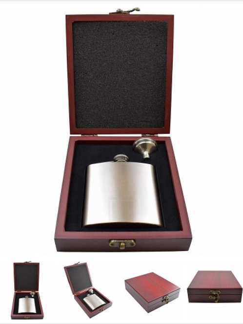 Hip Flasks - 6oz - Wood Effect Gift Boxes