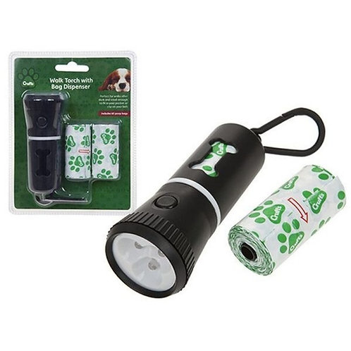 Crufts Walk Led Torch With Doggy Bag Holder + Spares