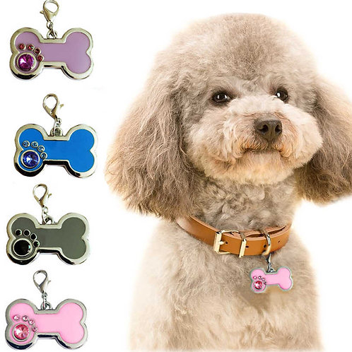 Dog ID Tag - Stainless Steel Diamante Bone