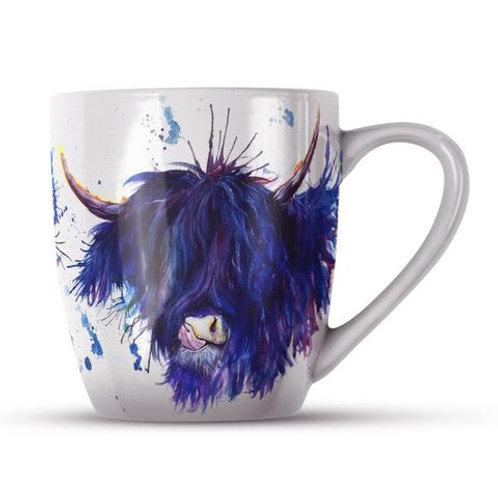 Bone China Mugs - SPLATTER HIGHLAND COW KW28H