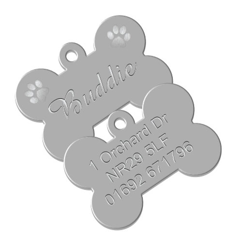 Dog ID Tag - Aluminium Bone