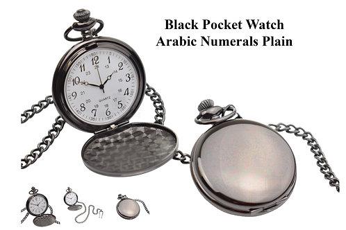 Fob Watch - Black Finish (Arabic Numerals)