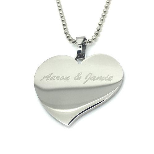 Flared Heart Pendant - Engraved