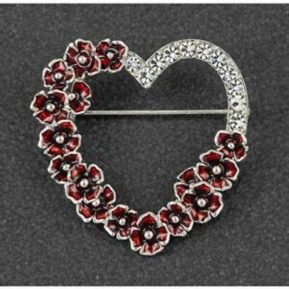 Equilibrium - Poppy Diamante Heart Brooch