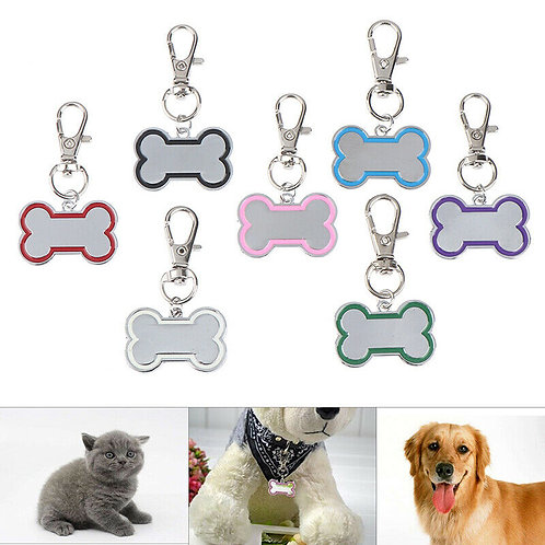 Dog ID Tag - Stainless Steel Two Tone Bone