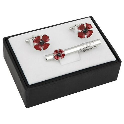 Equilibrium - Silver Plated Poppy Cufflinks and Tie Pin