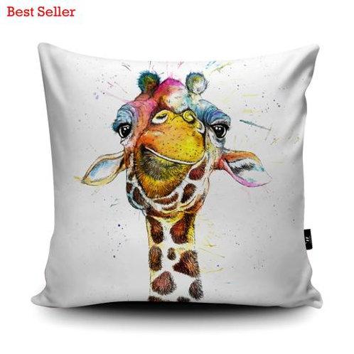 Cushions - SPLATTER RAINBOW GIRAFFE KW37U
