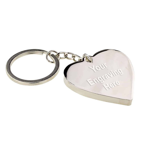 Large Engraved Keyring - Personalised Heart