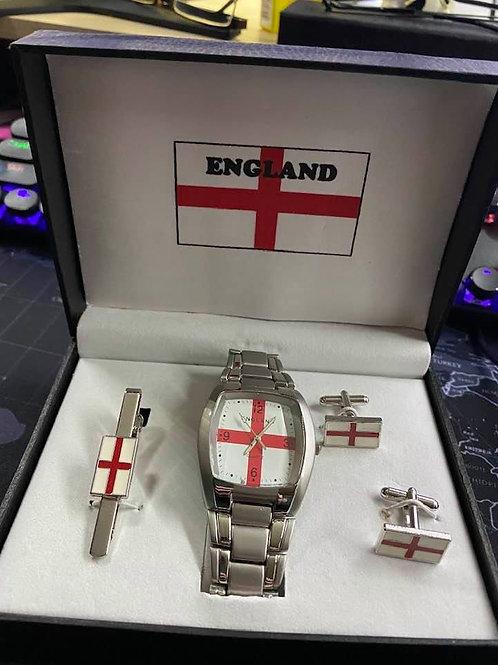 England Watch, Cufflink and Tie Bar Set