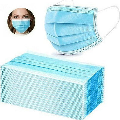50 Προστατευτικές Μάσκες 3 Στρώσεων με μεταλλικό έλασμα (πακέτο)