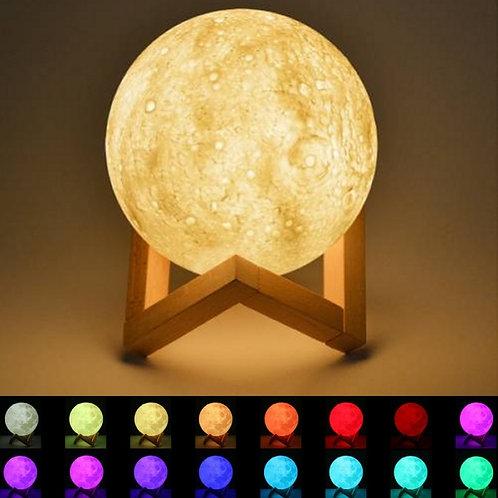 Μίνι Ανάγλυφο Φωτιστικό LED Φεγγάρι με Εναλλασσόμενα Χρώματα & Ξύλινη Βάση