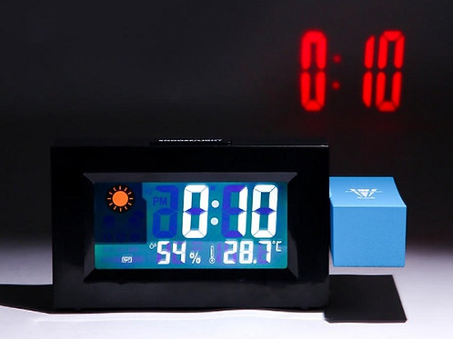 Ρολόι προτζέκτορας με μίνι μετεωρολογικό σταθμό, ημερολόγιο και ξυπνητήρι (Μαύρο
