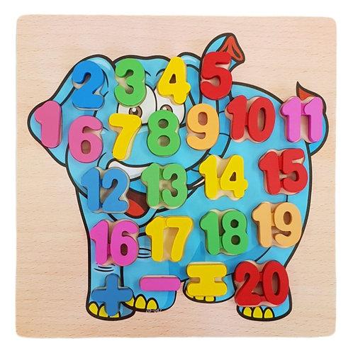 Ξύλινο παιδικό παιχνίδι με ενσφηνώματα αριθμούς