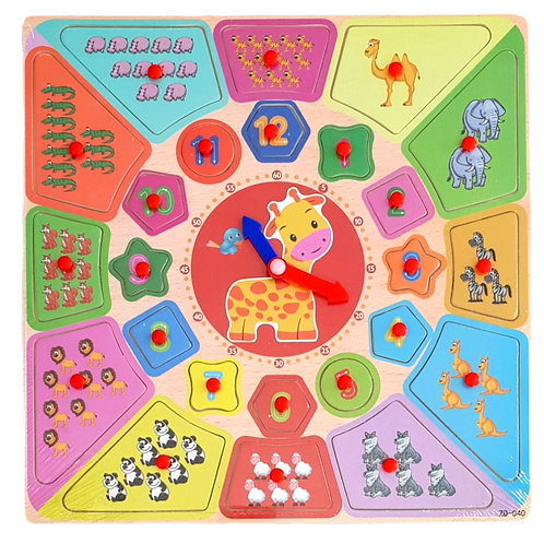 Παιδικό ξύλινο εκπαιδευτικό ρολόι με ενσφηνώματα (ζωάκια και αριθμοί)