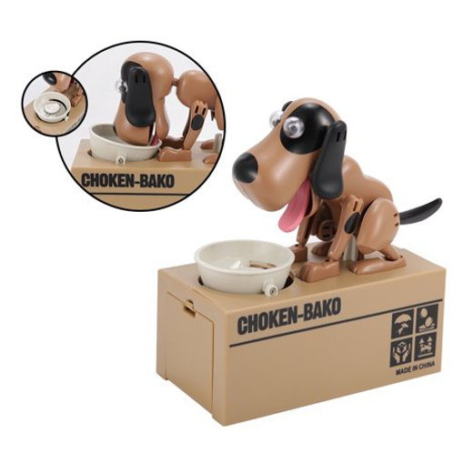 Έξυπνος κουμπαράς πεινασμένο σκυλάκι σε καφέ χρώμα